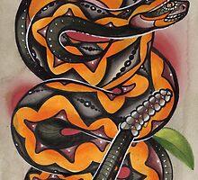 old timey snake tattoo by resonanteye