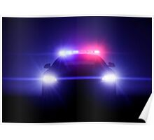 Police Car With Full Blinking Lights  Poster