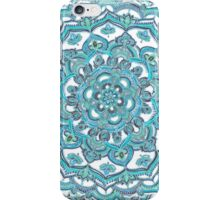 Summer Bloom - floral doodle pattern in turquoise & white iPhone Case/Skin