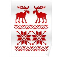 Moose Pattern Christmas Sweater Poster