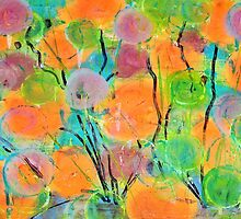 Abstract Colorful Spring Flowers by art-by-micki