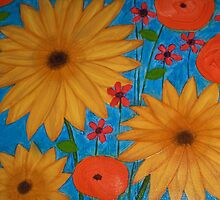 Big Bold Flowers Sunflowers Poppies by art-by-micki