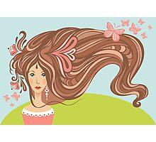 Girl with long beautiful hair Photographic Print