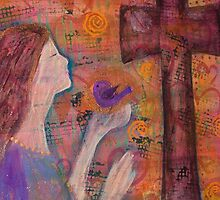 Believe Woman of Faith with Bird and Cross by art-by-micki