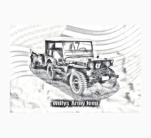 Willys World War Two Jeep Illustration Kids Clothes