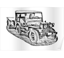 Willys World War Two Army Jeep Illustration Poster