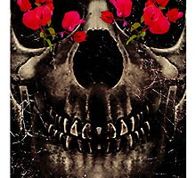 Death and Flowers Digital Photo Collage  by DFLC Prints