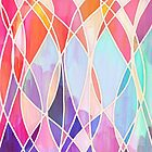 Purple & Peach Love - abstract painting in rainbow pastels by micklyn