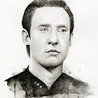 Data Star Trek Portrait Watercolor by OlechkaDesign