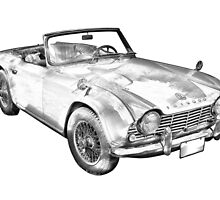 Illustration Of Triumph Tr4 Sports Car by KWJphotoart