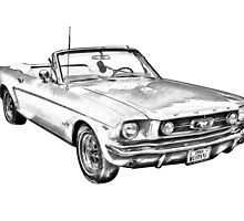 1965 Red Ford Mustang Convertible Drawing by KWJphotoart