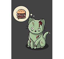 Zombie Cat Can Haz Brain Burger? Photographic Print