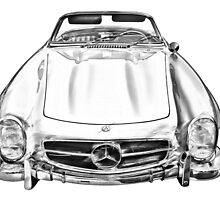 Mercedes Benz 300 SL Convertible illustration by KWJphotoart