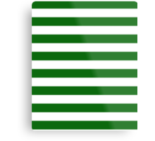 Green and White Hoops Banded Design Metal Print