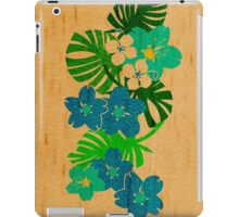 Limahuli Garden Faux Wood Hawaiian Surfboard - Teal and Lime iPad Case/Skin