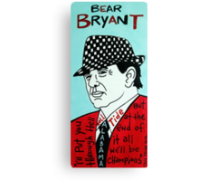 Bear Bryant Alabama Football Folk Art Canvas Print