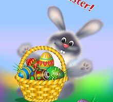 Easter Bunny with Egg Basket by lydiasart