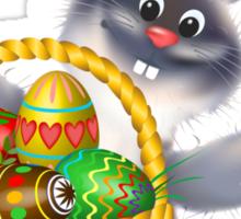 Easter Bunny with Egg Basket Sticker