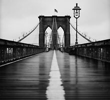 Brooklyn Bridge In Rain by Randy  Le'Moine