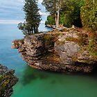 Rocky Cliffs at Cave Point by Kenneth Keifer