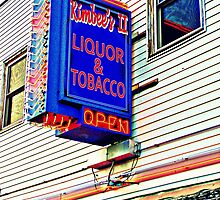 Red White and Blue Neon Liquor Store Sign by JennCaen