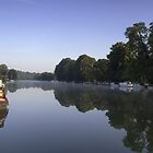 Reflection on the river Thames at Pangbourne by Jim Hellier