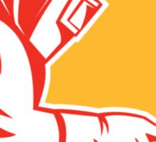 Welder Holding Welding Torch Shield Retro Sticker