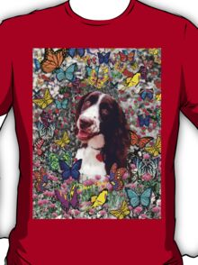 Lady in Butterflies - Brittany Spaniel T-Shirt