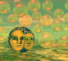 Consciousness - Gold and Green Awakening - Ocean Goddess by Diane Clancy