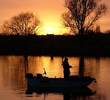 Fishing on the River Dee in Chester England by AnnDixon
