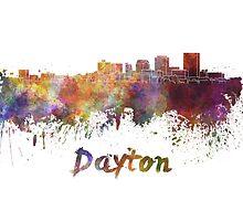 Dayton skyline in watercolor by paulrommer