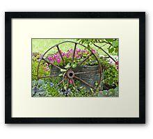 Vintage Wheel Garden Scene - Digital Oil  Framed Print