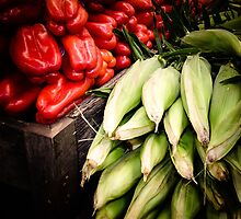 Corn and Peppers at the Market by Christopher Schloegel