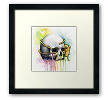 Jake Hugging Skull Adventure Art Watercolor Framed Print
