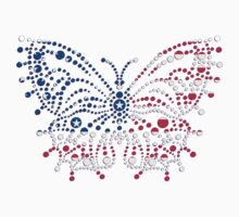 American Patriotic Dots Butterfly Flag T-Shirt / Throw Pillow / Tote Bag  by CroDesign