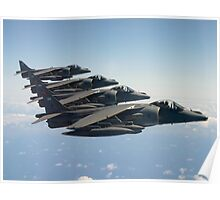 RAF Harrier 4-ship Poster
