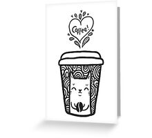 doodle coffee cat Greeting Card