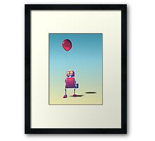 Little Red Birthday Robot 3 Framed Print