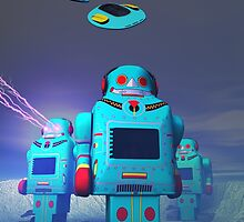 Toy Robos on the Attack by mdkgraphics