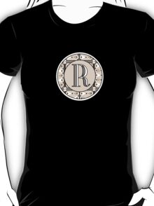1920s Pink Champagne Gatsby Monogram letter R T-Shirt