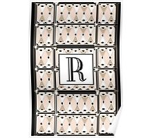 1920s Pink Champagne Gatsby Monogram letter R Poster