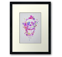 Cool & Trendy Pink Watercolor Skull Framed Print