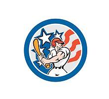 American Baseball Player Batting Circle Cartoon by patrimonio