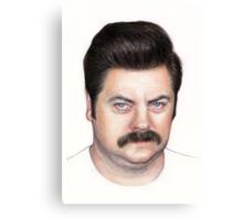 Ron Swanson Portrait Nick Offerman Art Canvas Print