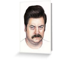 Ron Swanson Portrait Nick Offerman Art Greeting Card