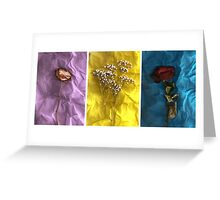 Triptych: Crumpled Flowers Greeting Card