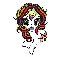 Rainbow Sugar Skull by Shanimation