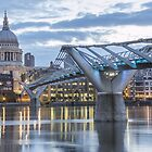 St Pauls left and the Bridge - London by Paul Campbell  Photography