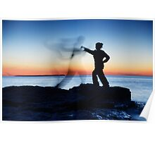 Woman attacking a ghost shadow of a man art photo print Poster