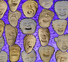 18 Stone Faces from Bali by Keith Richardson